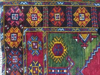 Anatolian prayer rug, Karaman  wool on wool ,150x95cm 1880-1900  Good condition