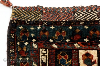 A finely woven chanteh, Qashqa'i or Khamseh, with a pattern of traditional textiles, termeh, last quarter 19c, with soft, fat pile.