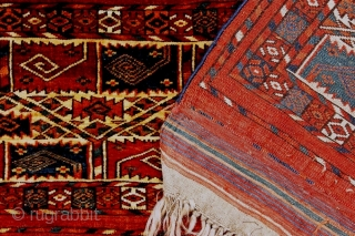 Jewel of a choice and rare Tekke germech, First half 19c. Exhibited at ICOC 1996 and published in Oriental Rugs from Atlantic Collections, p 204, fig 246. The pattern of stylized curled  ...