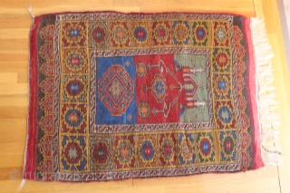 """Small Turkish prayer rug early 20th century. Size is 3'11 x 2'9"""". The rug was left un-sheared as if meant to be used as a child's sleeping rug. Whatever the reason it  ..."""