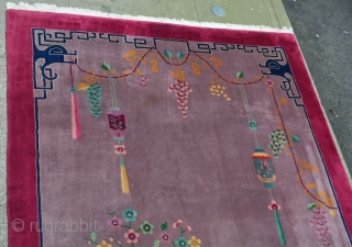 "Exceptionally beautiful and unusual 1920's Art Deco Chinese 8'3"" x 11', mint condition, natural dyes, thick soft Mandarin quality wool with rare tree and dragon's head motifs design. Pale lavender field with  ..."