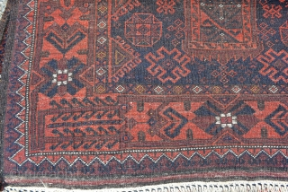 "Striking 1910 Persian Balouch 3' 8"" x 6' 5"" with a wide range of colors including rust red, purple brown, blues, ivory and small amounts of yellow with 14 knots of green  ..."