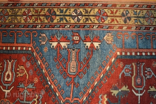 """1840 or earlier Konya-Ladik Long Rug, 3'10"""" x 16'3"""". Spacious and delicately drawn design with wonderful old colors, purple-aubergine, yellow, green, three reds including a spectacular cherry red and a stunning light  ..."""