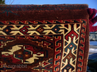 Yomud group chuval with tremendous color and wool quality. Admired by top collectors! Symmetric noting. Very fine dark brown weft. Natural dyes. Good age and condition.  SOLD!