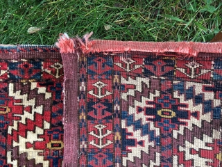"Sweet Torba, with Asmalyk guls, 45"" X 15"" - Symmetric knots. Saturated dyes, with mothing [taken care of], and wear. Super decorative. Some red dye issues with the weft, but clean on  ..."