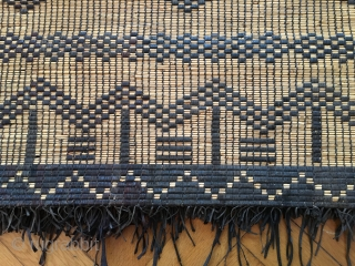 """Tuareg woven straw carpet, decorated with leather embroideries in a geometric design. Algeria, 1950, perfect condition, 167 x 72 cm / 5'4"""" x 2'3"""""""