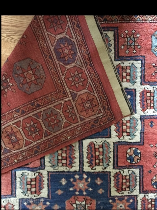 A mid 19th c. Bergama in nearly full pile with minimum restorations. All natural colors with intact edges and kilim ends. This rug has hung on a wall for more than 50  ...