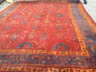 11x15 Antique turkish Oushak gorgeous 1900's  Original size