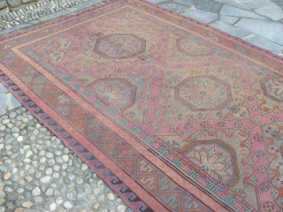 The size of this piece is  cm. 335 x 203  cm Very old SOUMACK from  CAUCASUS. In very good condition Other info or photos on request. Warm regards from COMO !