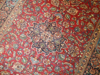 221 x 144  cm  is the size of this NAIN, village of TUDESHK. Perfect condition and very fine knot for this persian antique carpet.  Other Photos on request, and don't hesitate to  ...