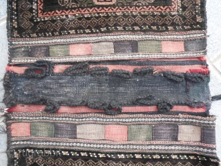 Rare complete Baluch-khorjin Mushwani tribe, pile khorjin antique. Overall is in excellent condition with full pile. End of XIX / bejinning of XXth c/  Natural dyes.