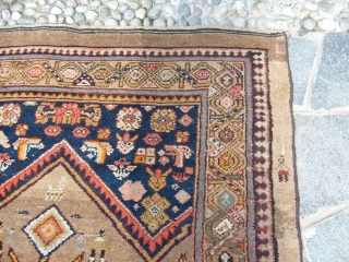 SIZE:   333 x 134  cm. = ft.  9.51 x 4.40. Very good condition for this antique carpet knotted in ECBATANA. Wool on wool and all natural dyes. No stains, no repils,  ...