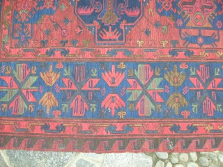 Size 370 x 220  cm. OLD SOUMACH Caucasus in very good conditions! Washed with no restors, stains, damages. All perfect. wool on wool. Old beautiful piece. Other photos on request. Thank you for  ...
