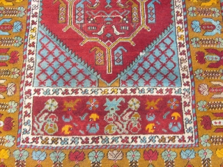 5.31 by 3.32 ft. size of this antique KIRSHIR. Very, very good condition.
