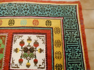 Antique East Turkestan Oasi of KHOTAN with panels design. In condition perfect. Full pile, any damages. This KHOTAN piece antique is all original. Pile wool on cotton foundation. Size m. 3.33 x 1.75 m. More photos or  ...