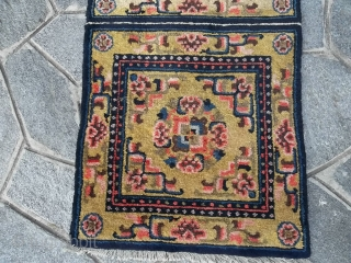 NINGXIA  antique 3 sitting mat for a BUDDHIST temple. Condition all perfect. Great colors. Size is 188 x 66 cm.  For more info and photos of this runner, don't  hesitate to contact me  ...