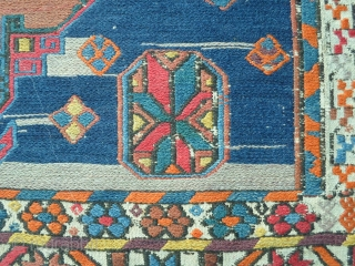 Soumach CAUCASUS in perfect condition with great colors. Soumach  Wool on wool. All original ends and size. This soumach has not been washed. Beautiful original piece CAUCASUS. Size is  cm.188 x 109 = ft. 6.16  ...