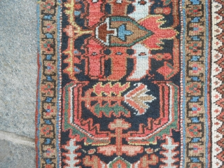 366 x 281 cm is the size of this antique HERIZ -Azerbaijan-Persian carpet.