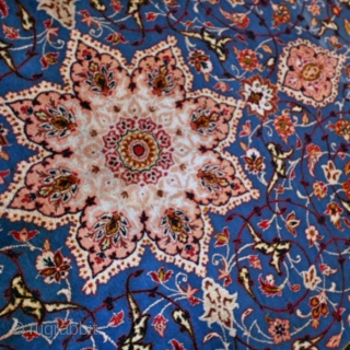 """3 2 6  x  2 1 6 cm.  for this old ESPAHAN Persian carpet in perfect condition.  Beautiful dye sky-blue """"mantle of the Mother Christ"""" and warm red-pastel. This Isfahan  ..."""
