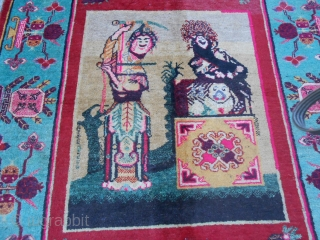 Khotan Oasi East Turkestan antique carpet. Period: 1° quarter XX°th-century. Size is:  271 x 150 cm = ft.8.88 x ft.4.92.  This very original and amazing piece has been knotted with a singular design. Condition all PERFECT.  ...