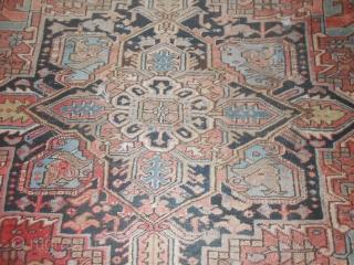 356 x 266 cm Oriental carpet AZERBAIJAN HERIS  Very old Heris, not a Karageh or Gorevan or AHAAR. This is an Heris (look the reverse /knot).  Very old piece with a very discount  ...