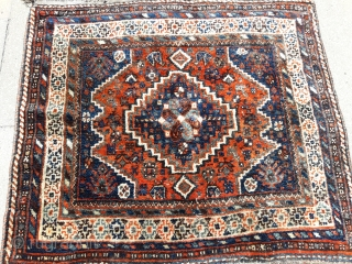 0008  Full pile Qashqai Shiraz rug from circa 1900-1910...It hes been used on the table .. All natural colours ...Size is 100x90 cm (3.2x2.9 feet)