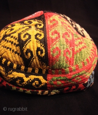 Uzbek vintage natural silk handmade hat skull duppi hat