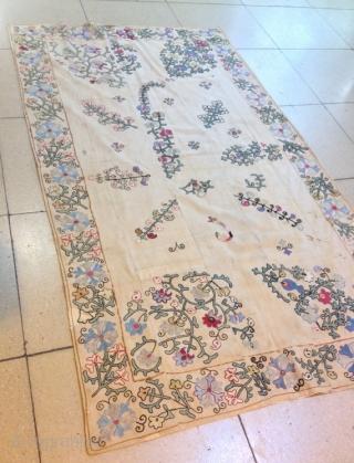 Antique uzbek silk kherboz Suzani  Very beautiful rare suzani Age about :1860s  100% handmade  Size: 200 cm X 114 cm   Suzani  Suzani is a type of embroidered and decorative tribal textile made in Tajikistan, Uzbekistan, Kazakhstan and  ...