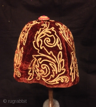 Rare Vintage unique collection velvet Sarma handmade hat with silk tassel hat 