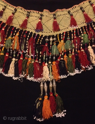 "19.century Uzbek silk and silver tassel exotic ethnic tribal luxury elegant collection tassel  Size : Height : 34 cm Diameter : 100 cm  100% handmade  VINTAGE UZBEK TASSELS : ""Segusha""( Triangle) is a decorative embellishments, whose function, was  ..."