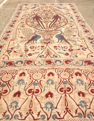 Antique Persian hand loom block print textiles