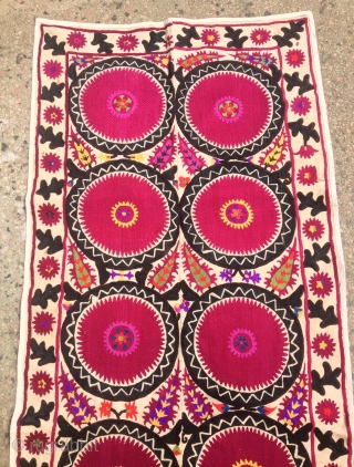Antique Uzbek embroidery Suzani   100% handmade  Size: 232 cm X 87 cm