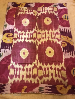 Vintage silk uzbek bukhara İkat cover, Ethnic tribal table cover , hanging wall , decorative home ,,,  Size: 138 cm X 102 cm  Please feel free if you have any kind of question  Shipment is  ...