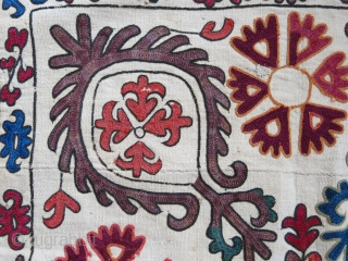 """Kyrgyz tribal mirror cover. Silk embroidery on hand loomed cotton. Only light madder embroidery is wool. Size: 55 cm x 53 cm with 7 cm long tassels (22"""" X 21"""" x 3"""").  ..."""