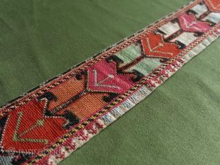 "Uzbek Lakai silk cross stitch embroidered belt. Circa 1900-20. Size: 110 cm x 8 cm (43.5"" x 3"")."