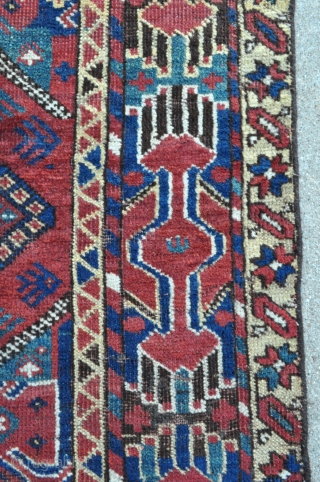 Ersari Beshir Main Carpet - about 5'3 x 9'9 - 160 x 298 cm. - scattered old repairs, some wear, low even pile, floor usable, reasonable, great colors and design.