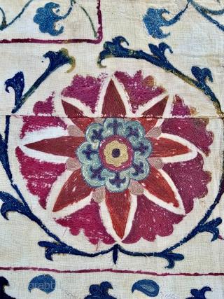 Central Asian Uzbek Suzani - 19th c. - 5'2 x 6'10 / 158 x 212 cm