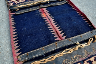 """For the Collector of Rare! Southeast Anatolian Reyhanli Saddle Bags. Has some silk highlights and some silk good luck charm knots, see close ups. - 17"""" x 48"""" - 44 x 122  ..."""