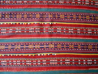 Uzbek horse cover, 41 X 59 inches excluding frills.  Nice piece with good dyes; probably early 20th.  In excellent shape, just one dime-sized reweave in field (see).