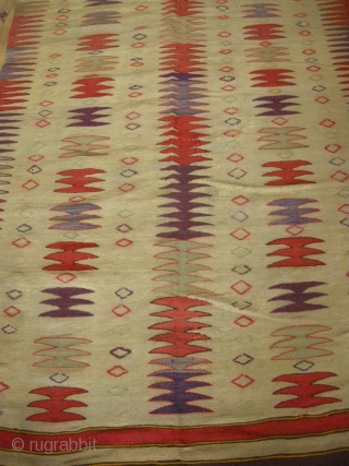 A funky early 20th century Turkish kilim, very graphic design, some old repairs approx. 5ft6 x 3ft6