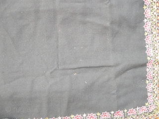 A very crisp good condition 19th century Indian shawl embroidered in silk on cashmere, signed , a few small moth holes in the black otherwise perfect 160 x 165cm .New Find