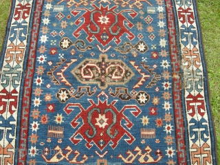 An unusual 19th century Caucasian rug 135 x 85, in pile but with areas of wear and sides overbound, may be missing an outer guard border. A very attractive unusual rug ,  ...