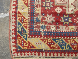 Dated Leshgi antique rug. Needs some repair, dated 1307 so approx. 1890. 4ft 4 x 3ft8 a very attractive antique rug.