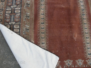 An Antique Giordes rug late 19th century , backed and ready to hang. Approx 4ft8 x 3ft8,
