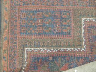 Antique Timuri baluch. Just found . This rug is approx 5ft6 x 4ft quite square. It is evenly low quite a lot of corrosion, it's extremely dirty and will clean like a  ...
