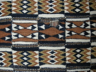 A very graphic old Atkilla flatweave in good condition a few minor areas of wear but generally very good. 14ft3 x 4ft2.Complete and full sized not reduced all original.