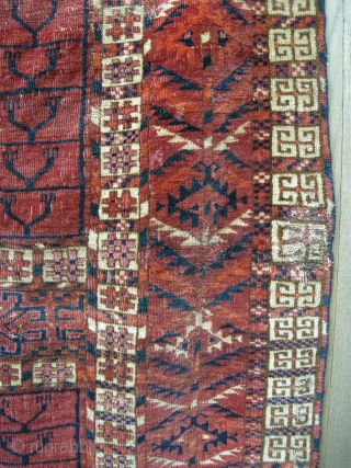 A lovely mid 19th century Tekke Ensie. Very soft wool , a great hanging piece cleaned and velvety in feel. Looks better than the pictures. small size.