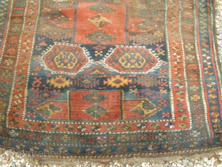 Antique Kurdush rug, Lovely colour and wacky design. Just bought. Unfortunately this piece is in bad condition with holes etc , there is decent pile on much of it. It is incredibly  ...