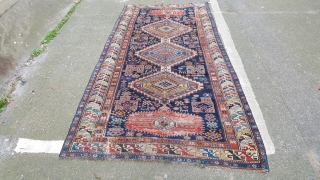 A fine antique karagashli rug selvage rebound missing original selvage some wear on end medallions and some slight damage in same area but generally pile is reasonable for a piece of this  ...