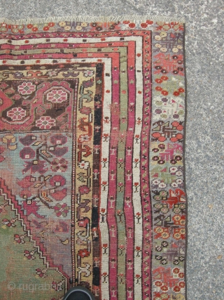 Antique Turkish prayer rug green ground, 145x 115 cm,